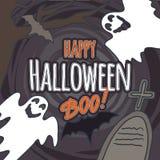 Halloween-het conceptenachtergrond van het spookboe-geroep, hand getrokken stijl vector illustratie