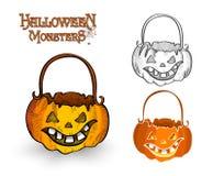 Halloween-het dossier van de de lantaarnillustratie EPS10 van de monsterpompoen Stock Afbeelding
