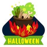 Halloween-het embleem van de brandketel, beeldverhaalstijl stock illustratie