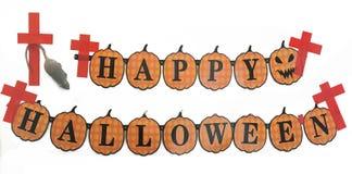 Halloween-het etiket hangt op muur op geïsoleerde witte achtergrond royalty-vrije stock fotografie