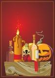 Halloween. Het hoofd van de pompoen Stock Foto's
