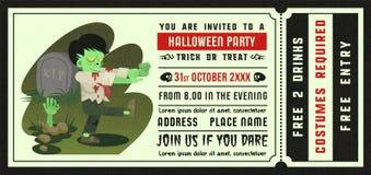 Halloween-het kaartjesstijl van de partijuitnodiging met illustratie Stock Afbeelding
