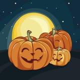 Halloween-het lachen pompoenen onder het maanlicht Vector illustratie De affiche van Halloween stock illustratie