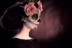 Halloween-het masker van make-upsanta muerte Royalty-vrije Stock Afbeeldingen