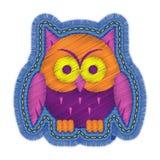 Halloween-het ontwerp van het het denimflard van het uilborduurwerk stock illustratie