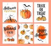 Halloween-het ontwerpinzameling van de waterverfhand getrokken artistieke reclame vector illustratie