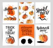 Halloween-het ontwerpinzameling van de waterverfhand getrokken artistieke reclame royalty-vrije illustratie