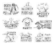 Halloween-het pictogram van de de partijschets van de vakantienacht Royalty-vrije Stock Afbeeldingen