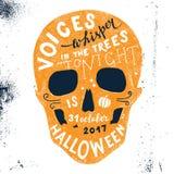 Halloween-het van letters voorzien in schedelsilhouet Royalty-vrije Stock Afbeelding