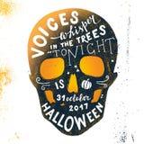 Halloween-het van letters voorzien in schedelsilhouet Royalty-vrije Stock Afbeeldingen