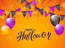 Halloween heureux avec des ballons et des fanions sur le fond orange illustration de vecteur