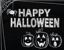 Halloween heureux avec des toiles de Jack O'Lanterns et d'araignée Photos stock