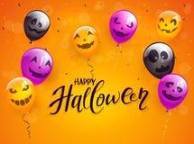 Halloween heureux avec les ballons et les confettis effrayants sur Backg orange illustration de vecteur