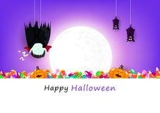 Halloween heureux, carte de voeux, Dracula et chauve-souris accrochant sous la pleine lune, illustration mignonne de vecteur de f illustration de vecteur