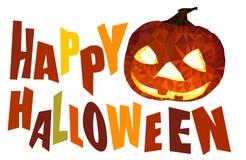 Halloween heureux colore le texte avec le vecteur de potiron de polygone Photographie stock