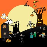 Halloween heureux dans le doddle de concept de vecteur Image stock