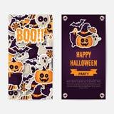 Halloween heureux deux conceptions de côtés affiche, d'insecte ou de menu illustration libre de droits