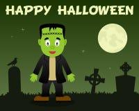 Halloween heureux Frankenstein et cimetière Images libres de droits