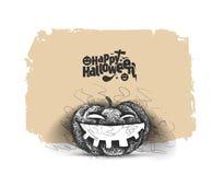 Halloween heureux - le potiron riant a isolé le fond blanc illustration libre de droits