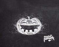 Halloween heureux - le potiron riant a isolé le fond noir illustration stock