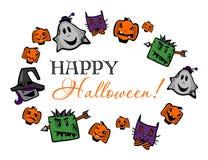 Halloween heureux, marquant avec des lettres avec des potirons, des zombis, des sorcières, des fantômes et des chats illustration de vecteur
