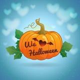 Halloween heureux nous aimons l'illustration de vecteur de potiron de Halloween Photos libres de droits