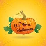 Halloween heureux nous aimons l'illustration de vecteur de potiron de Halloween Photo libre de droits