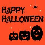 Halloween heureux orange et noir avec les potirons et l'araignée Photographie stock