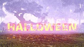 Halloween heureux rougeoyant textotent dans une forêt foncée illustration stock