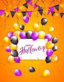 Halloween heureux sur la carte avec des ballons et les confettis sur le CCB orange illustration de vecteur