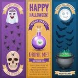 Halloween heureux trois bannières verticales élégantes illustration de vecteur