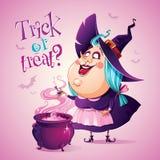 Halloween-Hexe braut einen Trank Auf einem rosa Hintergrund mit Palmblättern lizenzfreies stockbild
