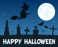 Halloween-Hexe, die über Friedhof fliegt Lizenzfreie Stockfotografie