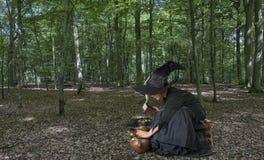 Halloween-Hexe draußen im Holz lizenzfreies stockbild