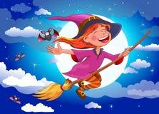 Halloween-Hexe fliegt auf einen Besenstiel Lizenzfreies Stockbild