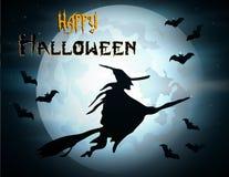 Halloween-Hexe-Flugwesen auf Broomstick Stockbild