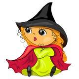 Halloween-Hexe im Bild des schwarzen Hutes Stockbild