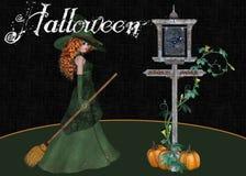 Halloween-Hexe-Kürbis-Zeichen-Hintergrund Stockbild