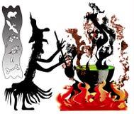 Halloween-Hexe mit großem Kessel Stockfotografie