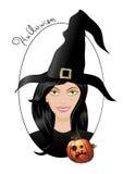Halloween-Hexe mit Kürbis lizenzfreie abbildung