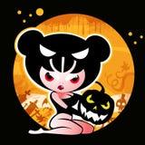 Halloween-Hexe mit Kürbis Stockbilder