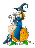 Halloween-Hexe mit Katze Stockfotos