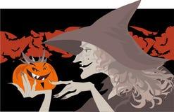 Halloween-Hexe und Kürbis Stockfotos