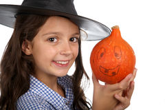 Halloween-Hexe und -kürbis Stockfotos