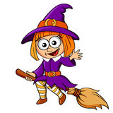 Halloween-Hexeflugwesen auf Besen Lizenzfreies Stockfoto