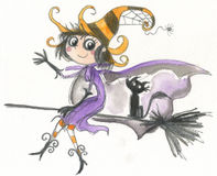 Halloween-Hexeflugwesen auf Broomstick Lizenzfreie Stockbilder