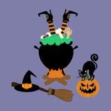 Halloween-Hexegroßer kessel Lizenzfreies Stockbild