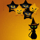 Halloween-Hexekatze und -ballone Lizenzfreies Stockfoto