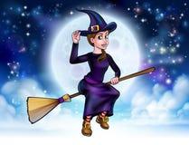 Halloween-Hexen-Fliegen auf Besenstiel-Hintergrund stock abbildung