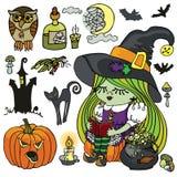 Halloween-Hexenmädchenlesung, Kessel, gespenstisch Stockbilder